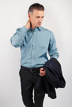 Рубашка мужская голубая в полоску Fra №869-38 (Петроль)