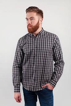 Рубашка мужская в мелкую клетку  №208F015 (Серо-коричневый)