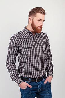 Рубашка мужская в мелкую клетку  №208F015 (Бежево-коричневый)