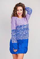 Платье женское вязаное, выше колена 348K003 (Сиренево-синий)