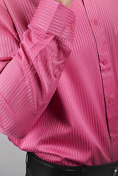 Рубашка розовая нарядная, атласная Fra №878-29 (Темно-розовый)