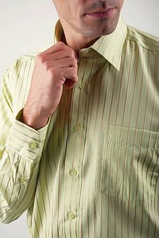 Рубашка светлая в полоску Fra №869-14 (Салатовый)