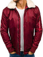 Мужская зимняя  куртка Бомбер с  меховым воротником №1