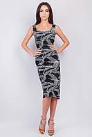 Платье летнее без рукава, приталенное №279F014 (Черно-белый)
