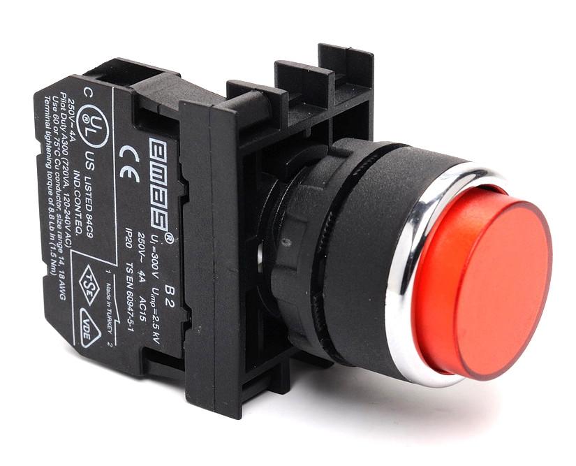 Кнопка нажимная круглая выступающая D22 (мм) (1НЗ) B200HK красная