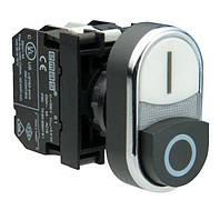 Кнопка сдвоенная чёрно-белая выступающая с блок-контактом подсветки без лампы (1НО+1НЗ) B132K21HB