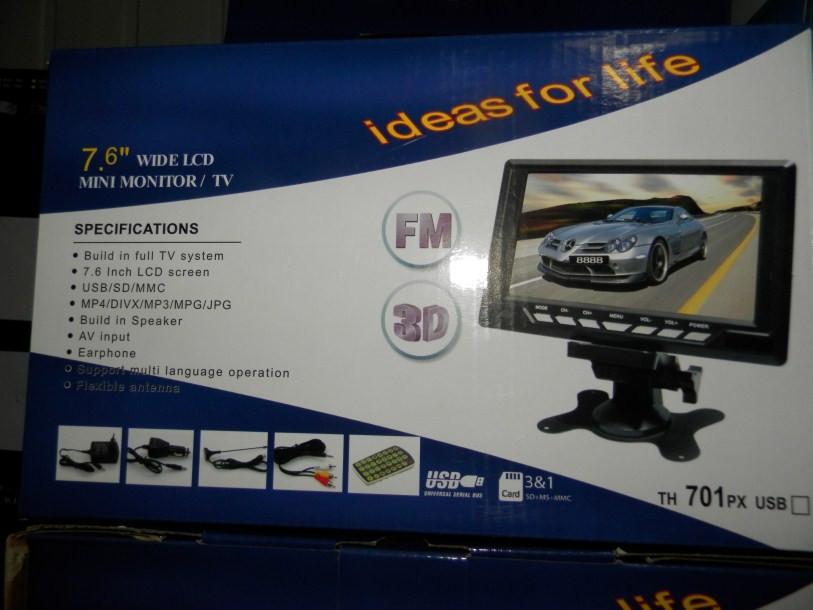"Телевизор LCD 7.6"" USB FM  ДУ  аккумулятор  3D TH-700"