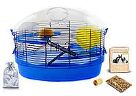 Клетка для хомяка, мыши, грызунов  + опилки + корм 11 Синий