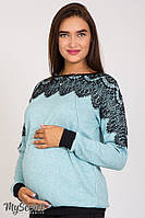 Очень красивый джемпер для беременных и кормящих мам LESTA, из теплого трикотажа с шерстью, мятный меланж
