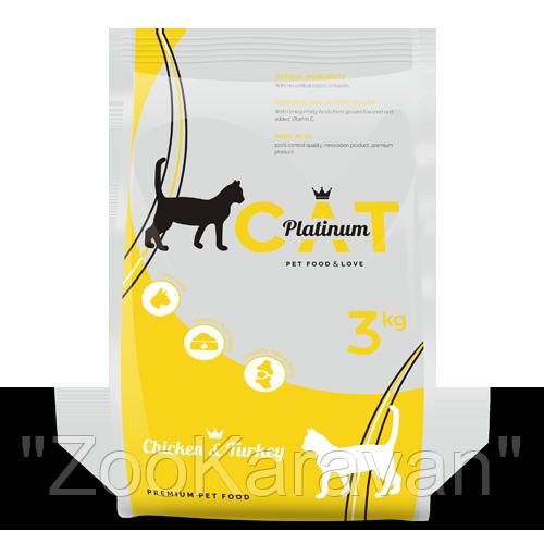 PLATINUM CAT CHICKEN & TURKEY полноценный корм премиум класса для кошек курица и индейка, 3 кг.