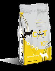 PLATINUM CAT CHICKEN & TURKEY полноценный корм премиум класса для кошек курица и индейка, 10 кг.