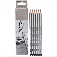 Простые графитные карандаши 2Н-3В, Набор 6шт, Raffine Marco
