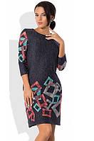 Платье из ангоры софт с геометрическими узорами