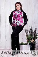 Велюровый женский костюм Цветы большого размера черный