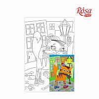 Холст с контуром Этюд Мультфильм №28 Кот на прогулке 20х30 Rosa Start 996