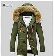 Мужская демисезонная куртка-парка с капюшоном меховой воротник, размер XL хаки Замеры в описании!