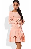 Платье-чарльстон из французского трикотажа персиковое