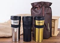 Термокружка Starbucks с резиновой полоской / Термочашка Starbucks / Старбакс 473 мл