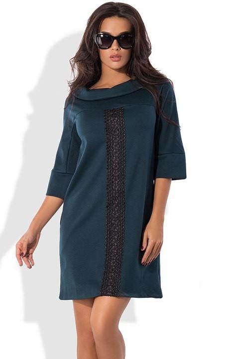 Платье-шифт из трикотажа алекс бутылочное
