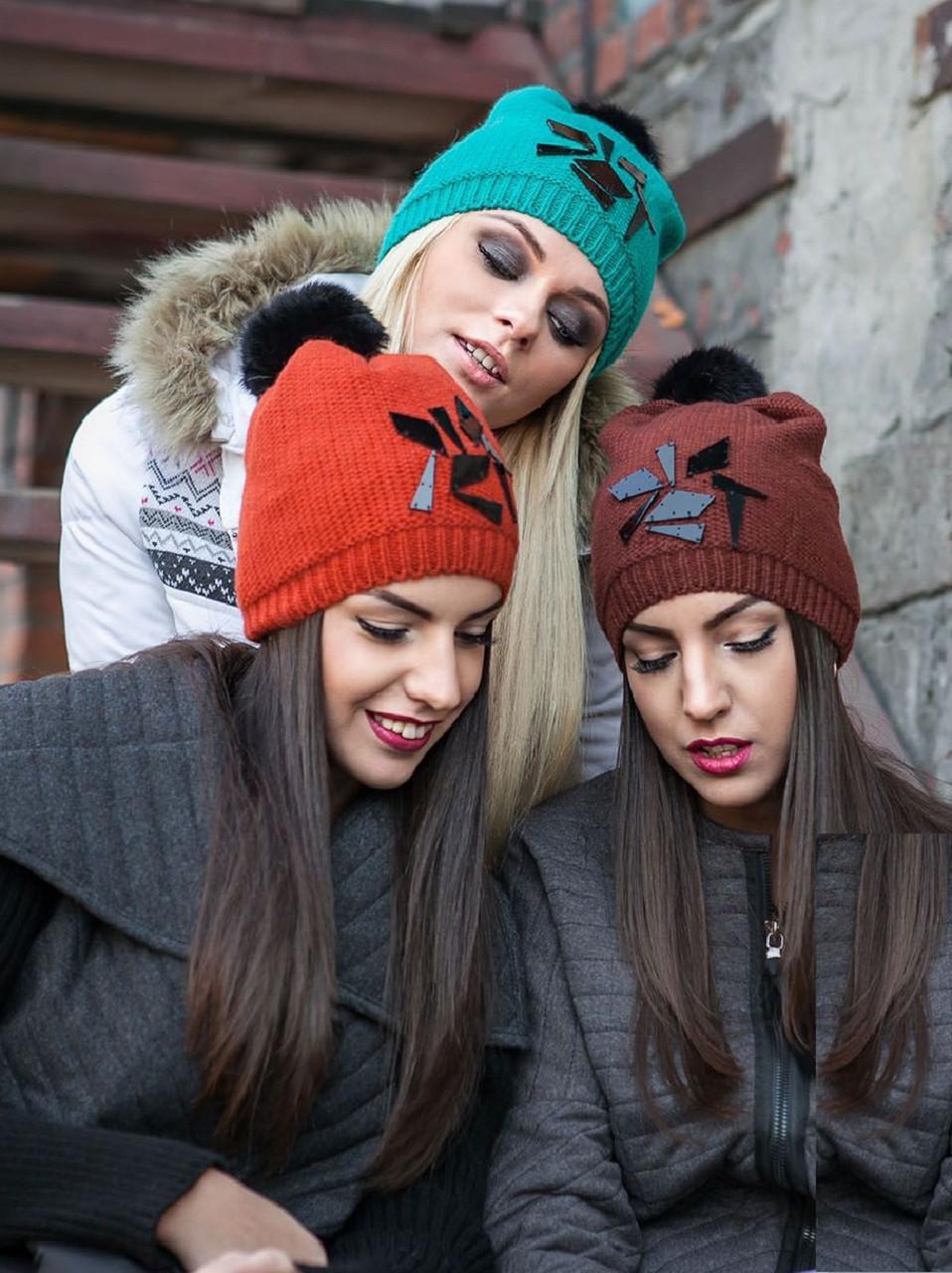 Женская зимняя вязаная шапка с помпоном из натурального меха, женские зимние шапки оптом от производителя