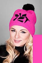 Женская зимняя вязаная шапка с помпоном из натурального меха, женские зимние шапки оптом от производителя, фото 3