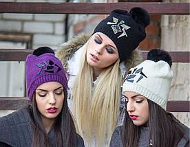 Женская зимняя вязаная шапка с помпоном из натурального меха, женские зимние шапки оптом от производителя, фото 2