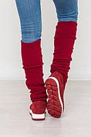 Модные  зимние сапоги - чулки красного цвета