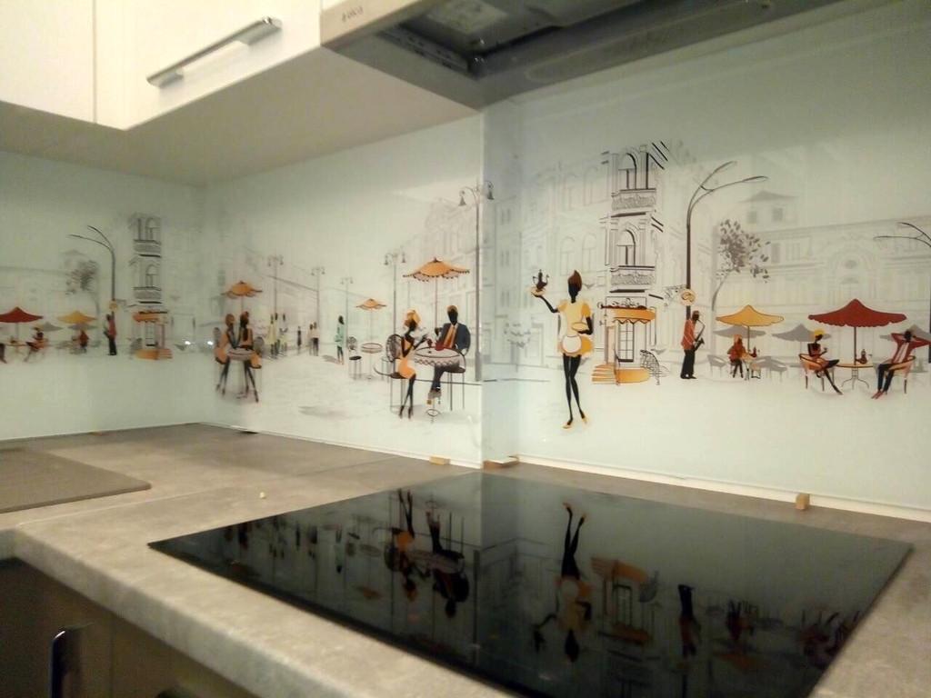 Скинали на кухню с изображением - фотопечать на стекле