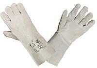 Перчатки рабочие сварщика спилковые без подкладки, с крагой