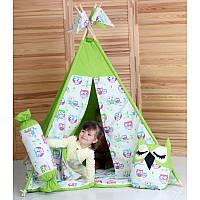 Детский вигвам комплект Совы салатовый + подушки