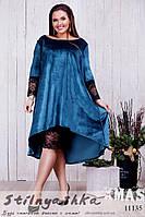 Шикарное бутылочное бархатное платье-двойка для полных, фото 1