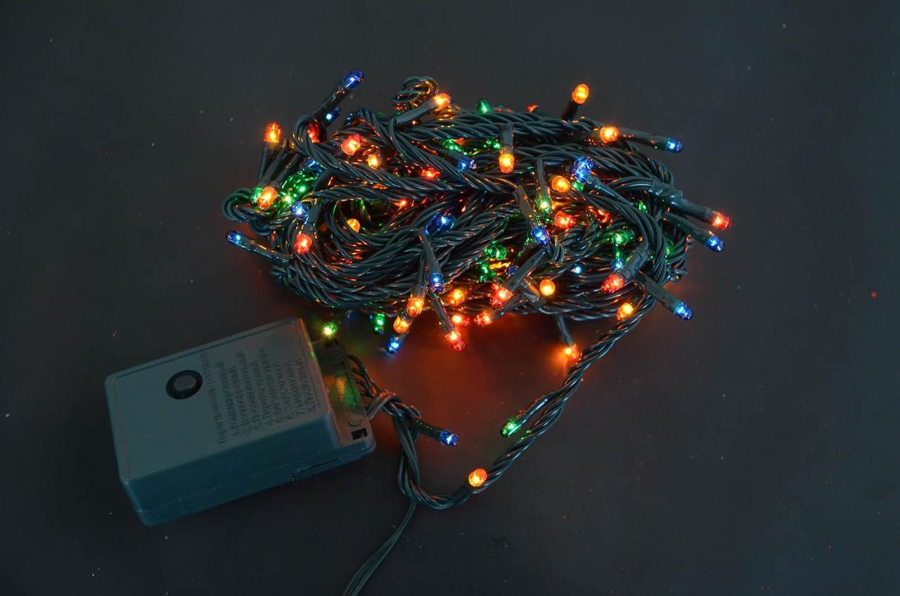 Электрогирлянда, 160 микроламп ламп, многоцветная,  8 м., 8 реж.мигания, зел.провод.