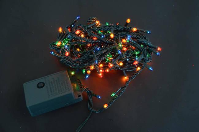 Электрогирлянда, 160 микроламп ламп, многоцветная,  8 м., 8 реж.мигания, зел.провод., фото 2