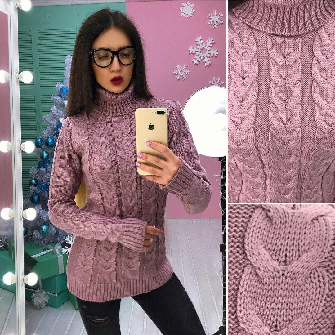 0298d524e9e Женский тёплый свитер вязаный с узором косичка
