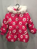 Зимняя куртка для девочки цветами 4-5 л