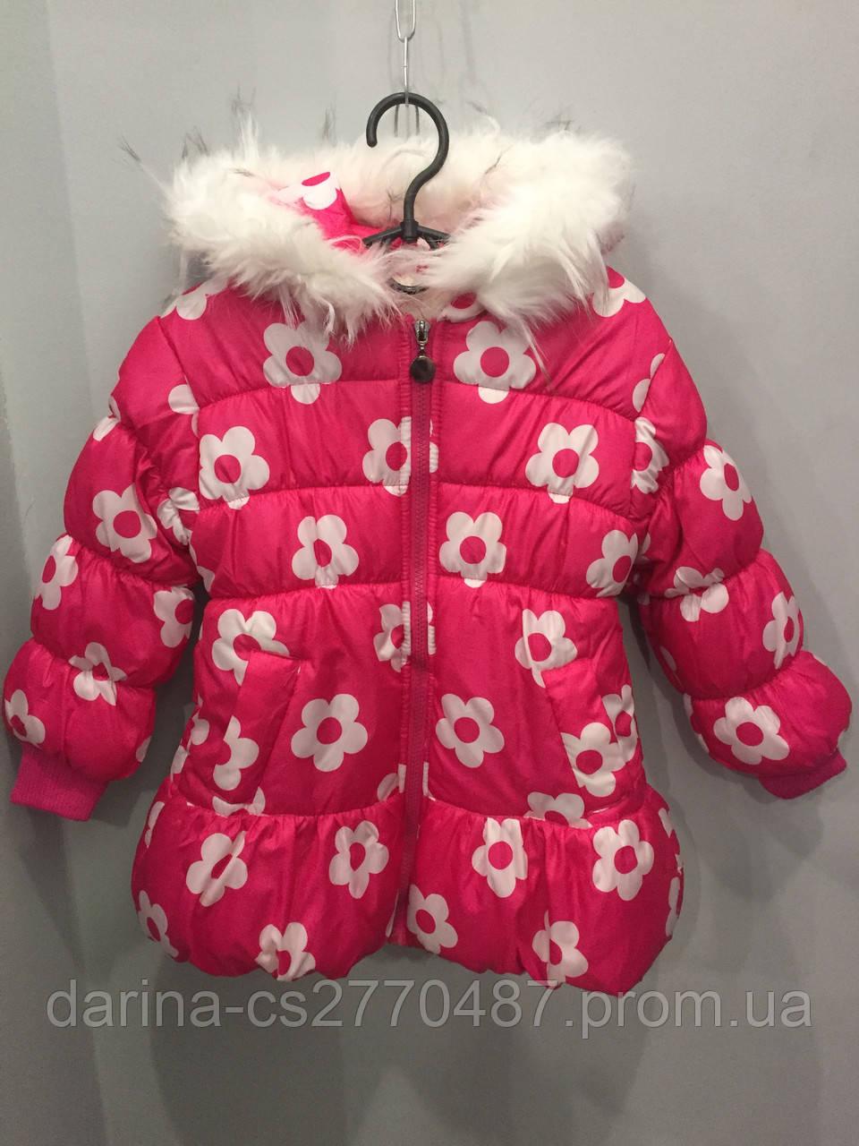 Зимняя куртка для девочки цветами 4-5 л, фото 1