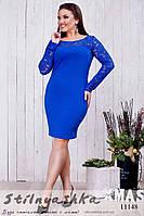 Облегающее платье с гипюром для полных индиго, фото 1