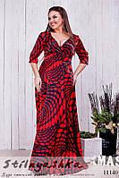 Шикарное платье в пол для полных с декольте красное