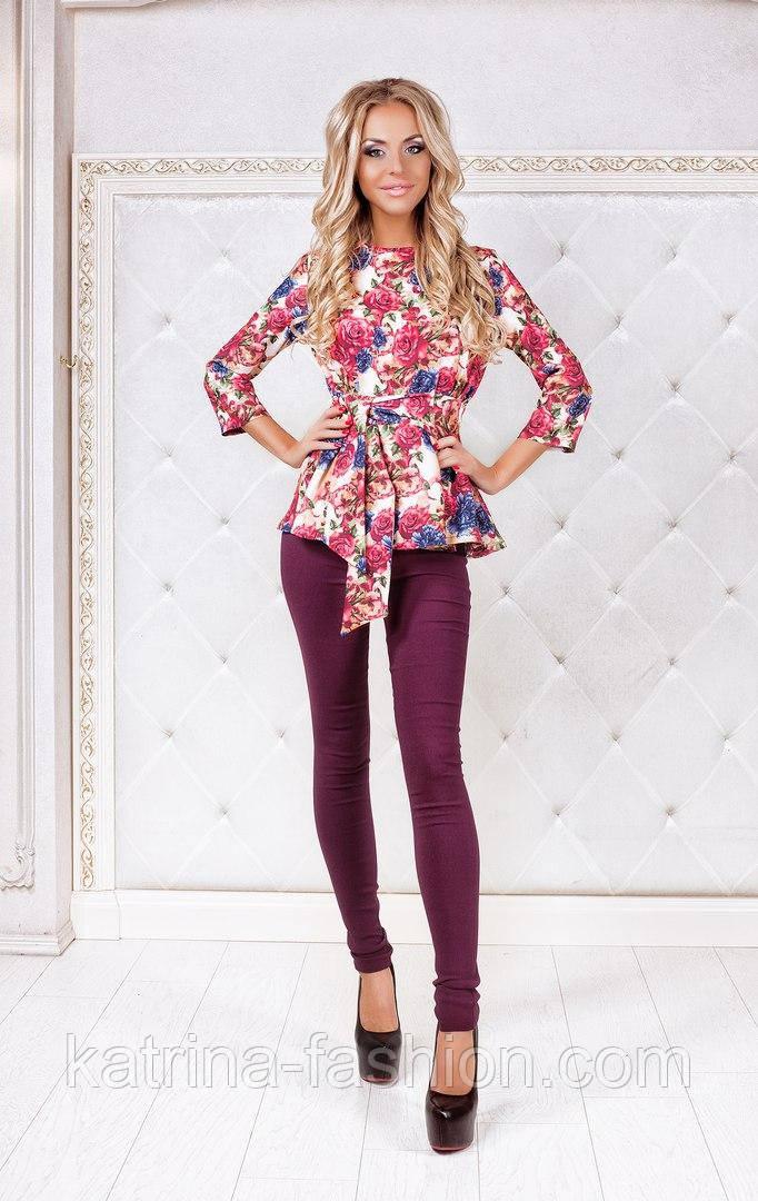 Женский модный костюм: блуза с баской и брюки (2 цвета)