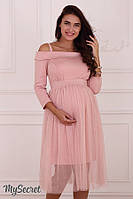 Роскошное платье для беременных и кормящих мам ELEONOR, пудра*