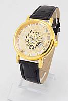 Мужские наручные часы Rolex (золотой циферблат, черный ремешок)