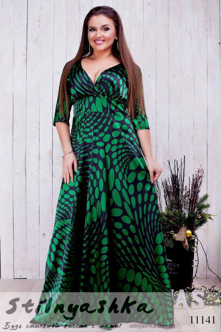 8340cd758b45 Шикарное платье в пол для полных с декольте зеленое