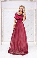 Женское шикарное нарядное платье из шелка Армани, фатина и сетки (4 цвета)