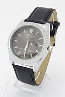 Мужские наручные часы Rolex DateJust (серебристый корпус, черный ремешок)