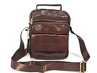 Мужская кожаная барсетка. Мужская сумка из натуральной кожи коричневая.