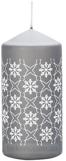 Свеча cнежинка серая Bispol 12см  (sw60/120-499-070)