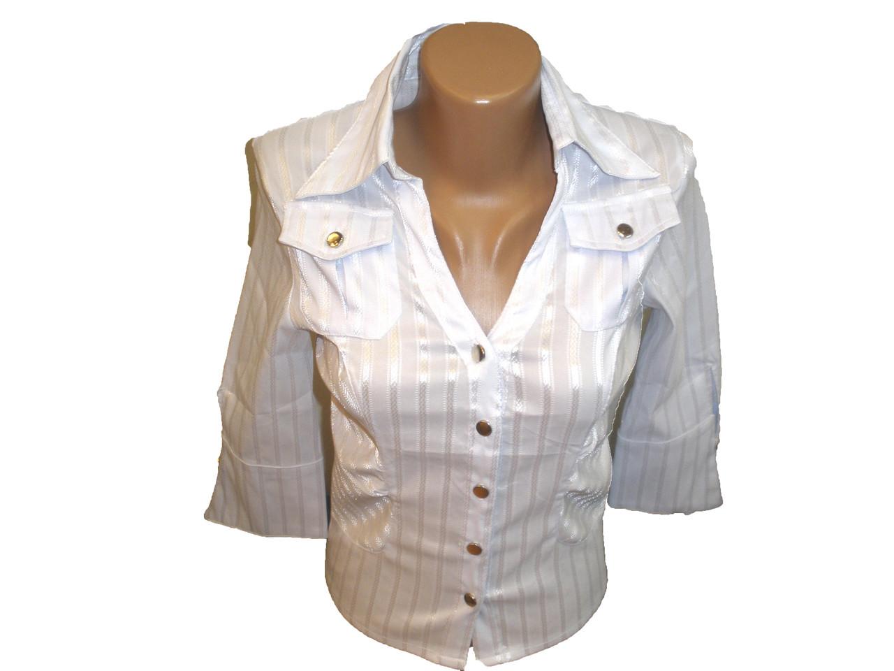 Блуза  классическая с нагрудными карманами.