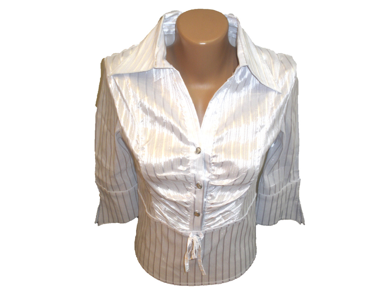 Блуза белая в рубчик.