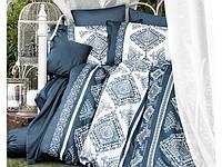 Комплект постельного белья Двуспальный Евро Сатин 200х220 CLASY Calipso синий