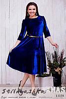 Расклешенное бархатное платье для полных индиго, фото 1
